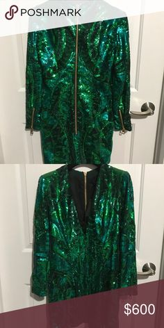 Balmainxhm green sequin dress Brand new Balmain Dresses Mini