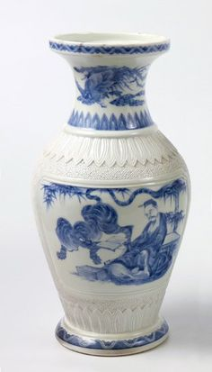 An Hirado Vase, mid 19th century, painted in underglaze