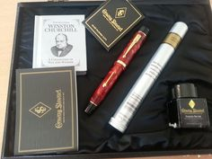 Conway Stewart Churchill lever filler in cherry red, with all the packaging.