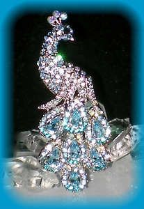 $14.96 TURQUOISE BLUE RHINESTONE CRYSTAL PEACOCK WEDDING BROOCH PIN on ebay by Unique Trinkets Trends and Treasure