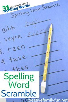 Practice your spelling words with an easy spelling word scramble game.