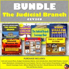 "BUNDLE: The Judicial Branch(CIVICS)Common-Core Aligned!  This product includes everything you need to teach a 8-day unit on the JUDICIAL BRANCH for your secondary CIVICS/American Government class.  Purchase in BUNDLE and you will automatically save 20% off of each product! A pacing guide and detailed lesson plans are included! ""Work smarter not harder!"""