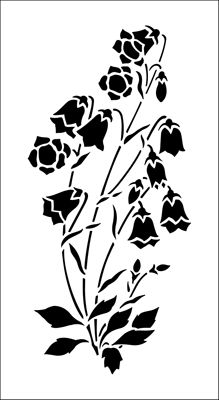 Campanula stencil from The Stencil Library GARDEN ROOM range. Buy stencils online. Stencil code GR14.