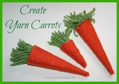 Yarn Carrots for Easter decorations or basket fillers