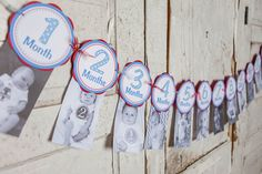 Boys Monthly Photo Banner - 1 Month through 12 Months Banner - Monthly Banner - Baby Monthly Banner - First Year Banner - Blue and Red