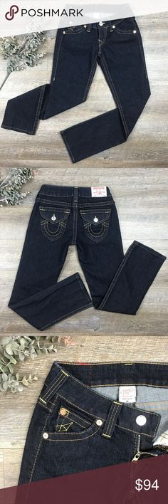 True Religion Jeans Great pair of dark wash True Religion Jeans! Like new condition! 88% cotton, 10% polyester, 2% spandex. Size 26. See images for measurements. J-1 True Religion Jeans