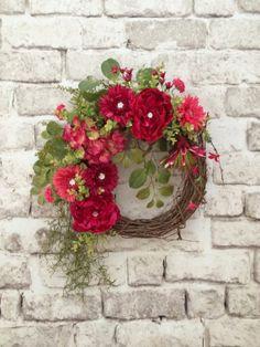 Jewel Pink Summer Wreath for Door Front Door by AdorabellaWreaths, $145.00