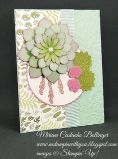 Miriam Castanho-Bollinger, #mstampinwithyou, stampin up, demonstrator, dsc, all occasions card, botanical gardens dsp, oh so succulent stamp set, succulent framelits, big shot, layering circles, lovely lace tief, su