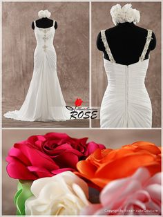 Trumpet Chiffon Wedding Dress Bridal Gown with by RoseHauteCouture