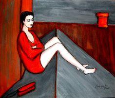 """Ola Lubczynska, """"On the roof"""", acrylic on canvas."""