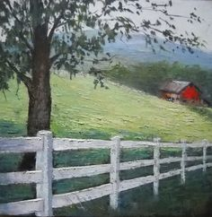 """""""Daily Painting, White Fence, Red Barn, Oil - Original Fine Art for Sale - © Carol Schiff Painting & Drawing, Watercolor Paintings, Original Paintings, Original Art, Farm Paintings, Landscape Paintings, Farmhouse Paintings, Barn Art, Farm Fence"""