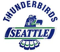 Seattle Thunderbirds Primary Logo (1986) - Blue totem pole with Seattle on banner