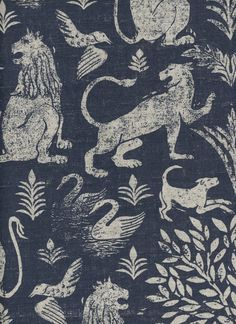 CITY OF LIONS | Lindsay Alker Fabrics & wallpapers. Hand silkscreened linen and wallpaper with a new traditional aesthetic.