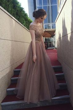 On Sale Comfortable Long Prom Dress Cap Sleeves Open Back Rhinestones Long Prom Dresses Formal Party Dress Long Prom Dresses Uk, Homecoming Dresses, Bridesmaid Dresses, Formal Dresses, Dress Long, Backless Dresses, Short Sleeve Prom Dresses, 1950s Dresses, Prom Long