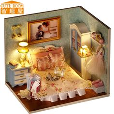 Nice Assemble DIY Doll House Toy Wooden Miniatura Doll Houses Miniature  Dollhouse Toys With Furniture LED Lights