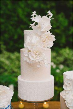 Short but elegant white-frosted cake. Elegant Spanish and Lace inspired wedding cake by RooneyGirl BakeShop Wedding Cake Guide, Wedding Cake Prices, Cool Wedding Cakes, Beautiful Wedding Cakes, Gorgeous Cakes, Pretty Cakes, Wedding Cake Toppers, Amazing Cakes, Wedding Tips