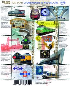 175 jaar Spoorwegen in Nederland In 1839 nam de Hollandsche IJzeren Spoorweg Maatschappij (HIJSM) de allereerste spoorlijn in Nederland in gebruik, tussen Amsterdam en Haarlem. PostNL besteedt in 2014 aan dit jubileum aandacht met de uitgifte van het postzegelvel 175 jaar spoorwegen in Nederland met tien verschillende postzegels met het tarief Nederland 1.