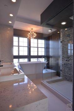 Contemporary Master Bathroom with Handheld showerhead, frameless showerdoor, Chandelier, Master bathroom, High ceiling