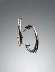 David Yurman | Women | Spring Film: Medium 3mm Crossover Hoop Earrings