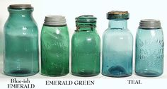 a collection of green mason jars | Shades of Blue Canning Jars