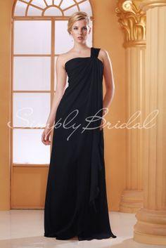 #85145 - Floor-Length Chiffon Dress With Cascading Drape