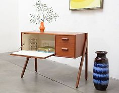 1950s-Danish-Modern-GUNNI-OMANN-Teak-Entry-Chest-Table-Mid-Century-Vintage