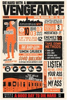 Die Hard with a Vengeance Infographic poster Die Hard Trilogy, Tv, Alternative Movie Posters, Typography, Lettering, Cool Posters, Film Posters, Art Posters, Vintage Posters