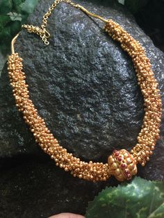 22 carat gold small swirls or muvvalu intricate long chain also called gajjela haram in Telugu. Antique work very large gold beads attach. Indian Wedding Jewelry, Indian Jewelry, Bridal Jewelry, Beaded Jewelry, Beaded Necklace, Bead Necklace Designs, Necklace Set, Chevron Necklace, Collar Necklace