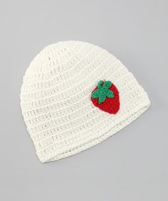 Take a look at this Cream Strawberry Beanie by Blade & Rose on #zulily today!