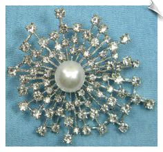 Modern Silvertone Clear Rhinestone Brooch Accented with Faux Pearl ( 2.5 in )