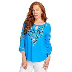 One World Challis Bell Sleeved Keyhole Embroidered Top    Palm Springs?