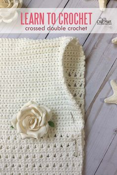 Do you want to learn to crochet crossed double crochet stitch? We've created a simple step-by-step photo tutorial so you can learn it with ease. Whether you just want to learn to crochet or are ready to expand your knowledge of crochet stitches, this simple stitch is a wonderful addition to your toolbox. #crosseddoublecrochet #learn2crochet #easycrochetstitch