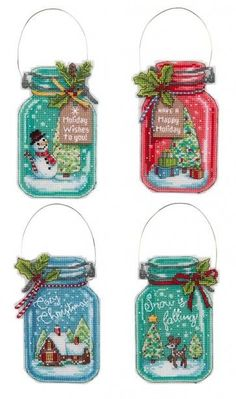 Christmas Jar Counted Cross Stitch Ornaments Kit