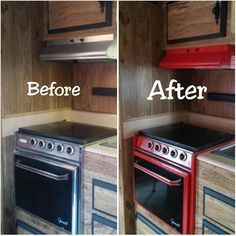 red camper stove re-paint  Travel trailer stove. Red and black rv stove
