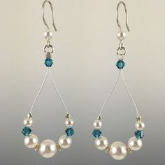 - Swarovski crystals and Swarovski crystal pearls - Hand formed Sterling silver earwires with rubber earring backers - Beads are strung on a colored, stainless steel nylon coated cable for durability Wire Jewelry, Jewelry Crafts, Beaded Jewelry, Jewelery, Silver Jewelry, Silver Ring, Jewelry Box, Swarovski Jewelry, Glass Jewelry