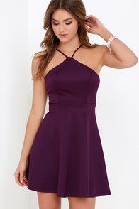 The Steal the Spotlight Purple Skater Dress never fails to stun! A flirty skater dress with a modified halter neckline and open back. Casual Cocktail Dress, Womens Cocktail Dresses, Party Dresses For Women, Dresses For Teens, Holiday Dresses, Sweet 16 Dresses, Cute Dresses, Casual Dresses, Short Dresses