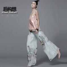 După conceptul de design original al Noului 2015 primăvara și vara de imprimare de mătase dublu ori tifon pantaloni largi picior