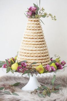 Norwegian wedding cake decorated with flowers and pears @myweddingdotcom