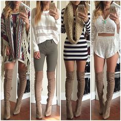 Date outfits spring outfits, summer boots outfit, tan boots outfit, dress b Outfits For Teens, Casual Outfits, Cute Outfits, Look Fashion, Winter Fashion, Fashion Outfits, Fashion Boots, Latex Fashion, Gothic Fashion