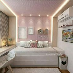 Modern Style Bedroom Design Ideas and Pictures. Looking for trendy vintage bedroom design and decorating ideas? Browse photo gallery for vintagebedroom sets to get inspired. Pick yours today! Dream Rooms, Dream Bedroom, Home Bedroom, Bedroom Decor, Bedroom Ideas, Girl Bedroom Designs, Girls Bedroom, Bedrooms, New Room