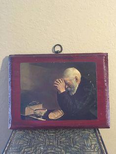 Vintage Wooden Driftwood wood plaque Old man praying Grace