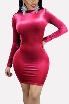 e0b2fb6692de Women Red Long Sleeve Mock Neck Backless Sexy Bodycon Velvet Dress - S