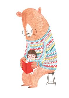 A Very Big Bear, reading illustration Children's Book Illustration, Character Illustration, Pretty Drawings, Fairytale Art, Cute Cartoon, Doodle Art, Childrens Books, Illustrators, Art For Kids