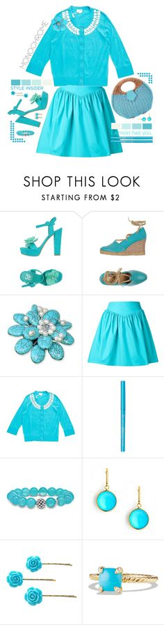 """""""Pale Turquoise."""" by s-elle ❤ liked on Polyvore featuring Sgn Giancarlo Paoli, Malìparmi, NOVICA, Moschino, Kate Spade, Lagos, Syna, David Yurman, Ross-Simons and monochrome"""
