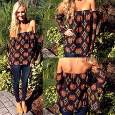 Boho meets trendy in this new black Ikat print off the shoulder top!!!  now available for $24.99 online at www.sophieandtrey.com