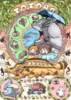 animal with kids; anime art nouve style illustration