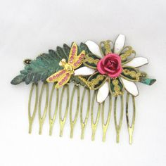 Hot pink and gold Vintage Bridal HairComb- Collage Wedding Hairpiece-  Hair Accessory- Statement  fascinator by cloudcake on Etsy https://www.etsy.com/listing/193424323/hot-pink-and-gold-vintage-bridal