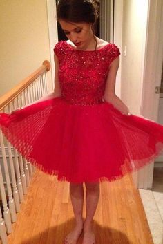 Bg553 Charming Prom Dress,Red Prom Dress,Tulle Prom Gown,Short Prom Dress,Pretty Party Dress,Beading Homecoming Dress