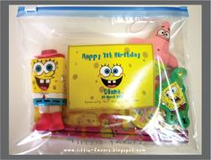 Birthday Party Favors: Spongebob Theme Plus tons more b-day themes!