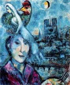 """Marc Chagall-Self-Portrait 1959,..""""In our life there is a single color, as on an artist's palette, which provides the meaning of life and art. It is the color of love.""""  #artist #art #artworks #Marc-Chagall #marcchagall #jewish"""
